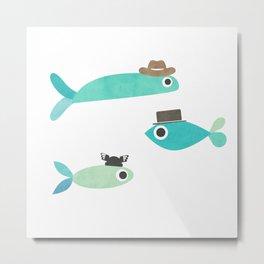 Fish in Hats Metal Print