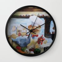 chef Wall Clocks featuring THE CHEF by MELANIE GERVAIS ART