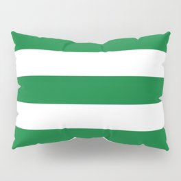 La Salle green - solid color - white stripes pattern Pillow Sham
