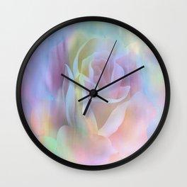 Pastel Watercolor Rose Wall Clock