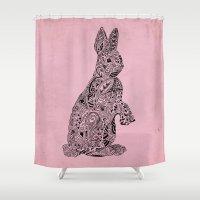 rabbit Shower Curtains featuring Rabbit by Suburban Bird Designs
