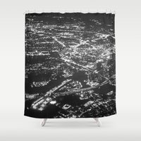 cities Shower Curtains featuring Fly Over Cities by Chris Klemens