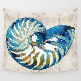 Beachy Art - Nautilus Shell Bleu - Sharon Cummings Wall Tapestry