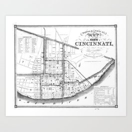Vintage Map of Cincinnati Ohio (1841) BW Art Print
