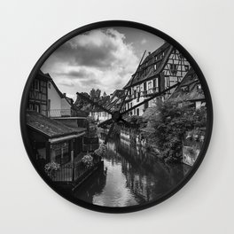 Colmar fishermen's quarter in black and white, France Wall Clock