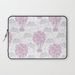 Vintage hot air balloons line drawing in pink and purple Laptop Sleeve