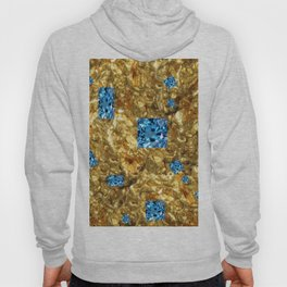 FACETED BLUE  TOPAZ GEMSTONES ON GOLD Hoody