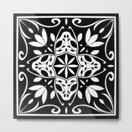 Monochrome Tulip Tile Metal Print