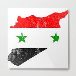 Distressed Syrian Arab Republic Map Metal Print