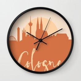 COLOGNE GERMANY CITY SUN SKYLINE EARTH TONES Wall Clock