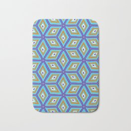 Blue and Gold Tilted Cubes Pattern Bath Mat