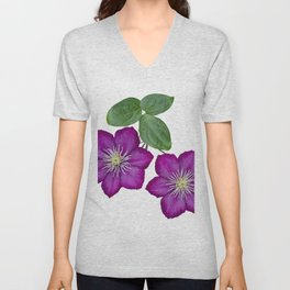 Purple clematis on a stem isolated on white background Unisex V-Neck