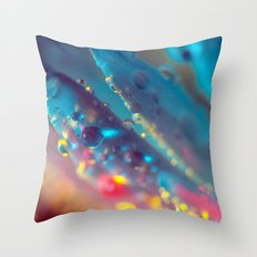 Electric Blue Floral Dew   Throw Pillow