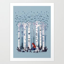 The Birches (in Blue) Art Print