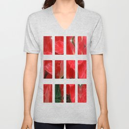 Mottled Red Poinsettia 1 Ephemeral Art Rectangles 2 Unisex V-Neck