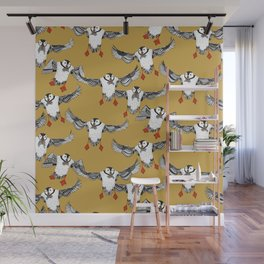 Atlantic Puffins gold Wall Mural