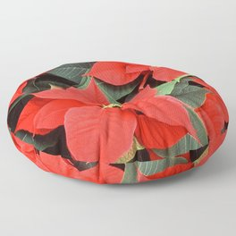 Beautiful Red Poinsettia Christmas Flowers Floor Pillow