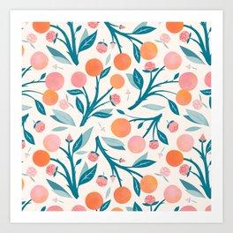 Peaches and Peony Buds  Art Print