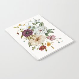 Colorful Wildflower Bouquet on White Notebook