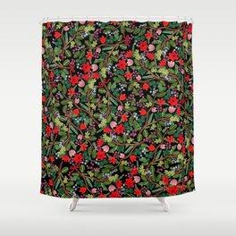 Christmas Floral Black Shower Curtain