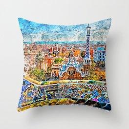 Barcelona, Parc Guell Throw Pillow