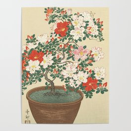Vintage Azalea Japanese Woodcut Poster