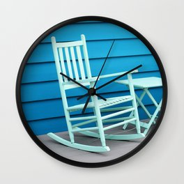 Coastal Beach House Art - Blue Rocking Chair - Sharon Cummings Wall Clock