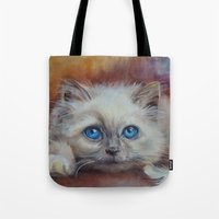 kitten Tote Bags featuring KITTEN by Canisart