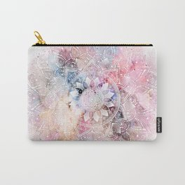 Whimsical white watercolor mandala design Carry-All Pouch