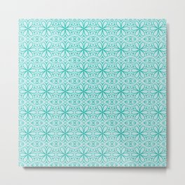Victorian Floral Pattern turquoise Metal Print