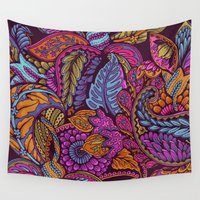 paisley Wall Tapestries featuring Paisley Dreams - sunset colors by Lidija Paradinović Nagulov - Celandine
