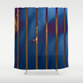 Electric Blue Abstract with Gold Stripes Shower Curtain