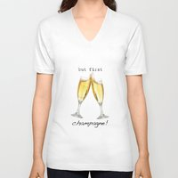 champagne V-neck T-shirts featuring Champagne! by mJdesign