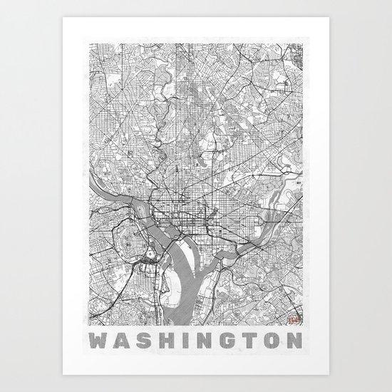 Washington Map Line Art Print