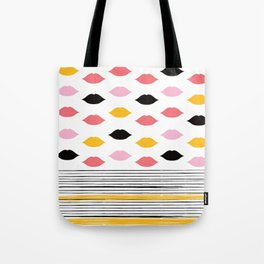 Kisses & Stripes hot summer edition - black, white, gold and pink pattern in vintage Style Tote Bag
