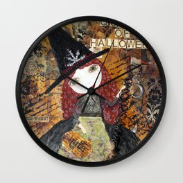 Mixed Media - QUEEN OF HALLOWEEN, Witch Wall Clock