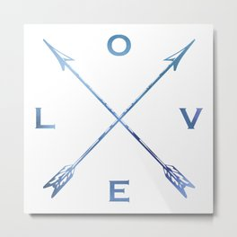 Watercolor Love Arrows Blue Metal Print