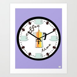 Coffee Time Clock on Lovely Lilac Background - Coffee Inspired Kitchen Wall Art Art Print
