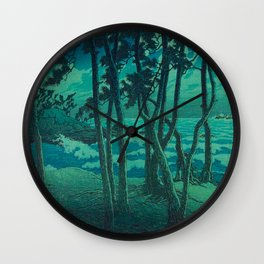 Kawase Hasui Vintage Japanese Woodblock Print Cluster Of Pine Trees Near The Water's Edge At Night Wall Clock