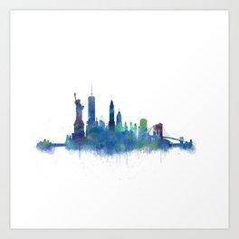 NY New York City Skyline NYC Watercolor art Art Print