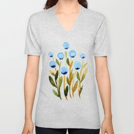 Simple watercolor flowers - blue and sap green Unisex V-Neck
