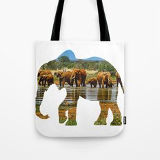 African Elephant Silhouette Tote Bag