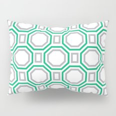 Polygonal pattern - Turquoise green and Gray Pillow Sham
