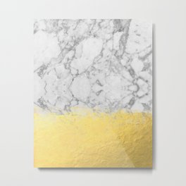 Marble with Brushed Gold - Gold foil, gold, marble, black and white, trendy, luxe, gold phone Metal Print