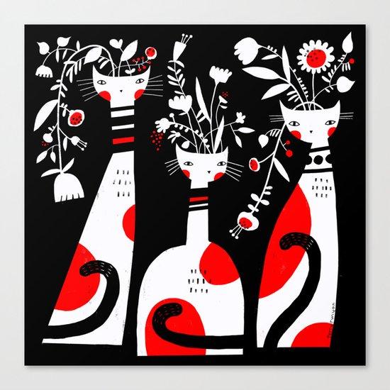 VASE CATS Canvas Print