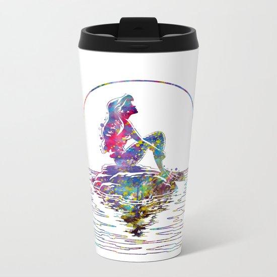The Little Mermaid Ariel Silhouette Watercolor Metal Travel Mug