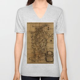 Map of Chesapeake Bay 1774 Unisex V-Neck