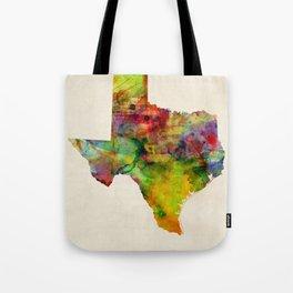 Texas Watercolor Map Tote Bag