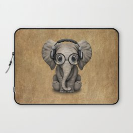 Cute Baby Elephant Dj Wearing Headphones and Glasses Laptop Sleeve
