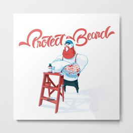 Protect the Beard Metal Print